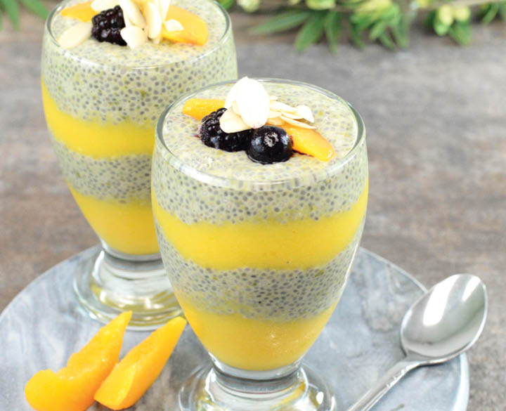 layered-peach-matcha-chia-pudding